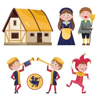 Set van middeleeuwse personages en huis