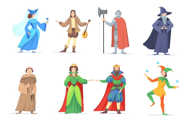 Set van middeleeuwse stripfiguren in historische kostuums. vlakke afbeelding