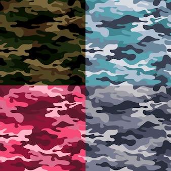 Set van militaire camouflage naadloze patroon