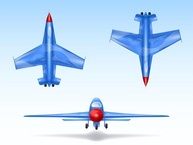 Set van militaire vliegtuigen, straaljagers. bestrijd het vliegtuig in verschillende weergaven