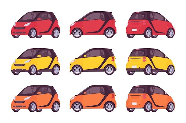 Set van mini-elektrische auto in rode, gele, oranje kleuren
