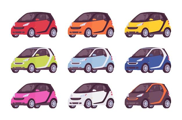 Set van mini-elektrische auto in verschillende kleuren