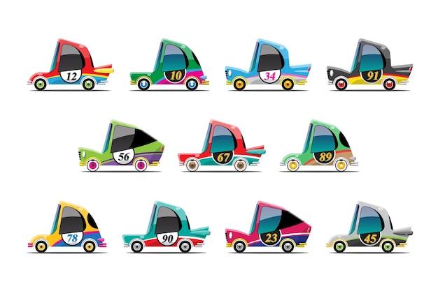 Set van mini-racewagen in cartoon-stijl