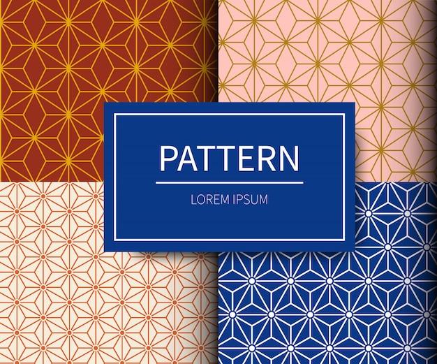 Set van minimaal japans patroon./traditionele stof japanse patroonstijl