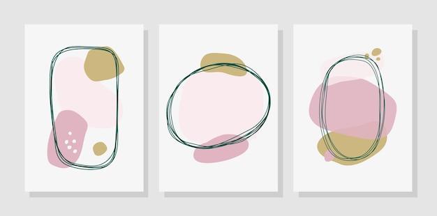 Set van minimale achtergrond met organische abstracte vormen. eigentijdse affiche. ontwerp voor wenskaarten, covers, poster, branding.