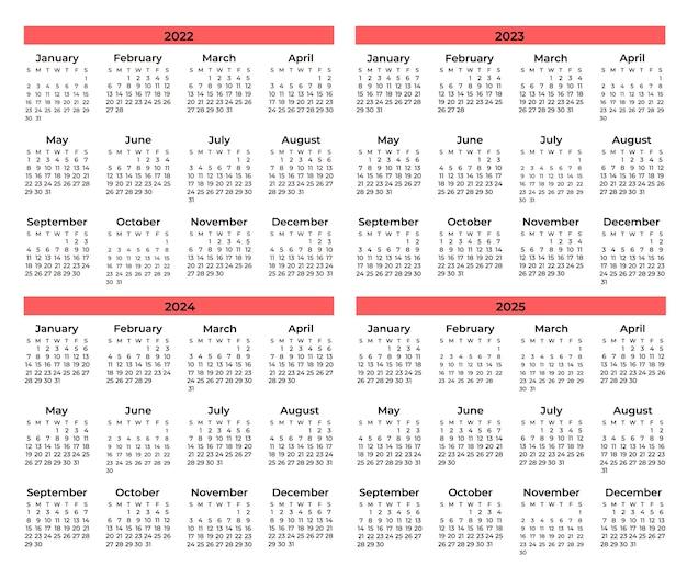 Set van minimale kalenders