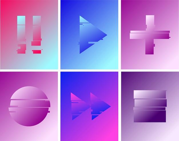 Set van minimale knoppen tekenen