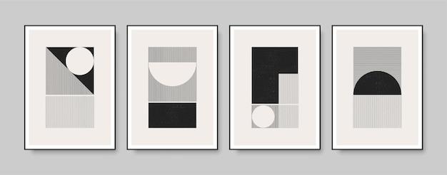 Set van minimale monochroom geometrische posters