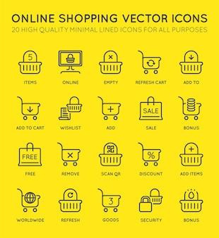 Set van minimale winkelwagen online vector lijn iconen. perfecte pixel. dunne beroerte. 48x48 pixels.