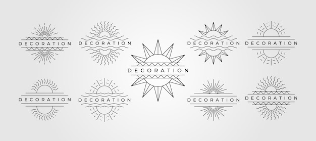 Set van minimalistisch design van de lijn van de zon