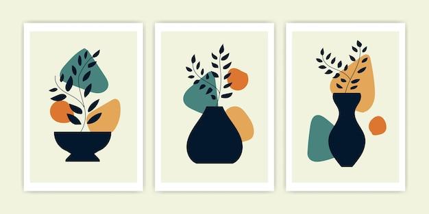 Set van minimalistisch en abstract van plant met vaas. vector dekking abstract ontwerp.