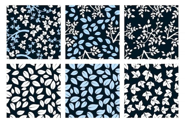 Set van minimalistisch naadloos patroon met witte en blauwe bladeren