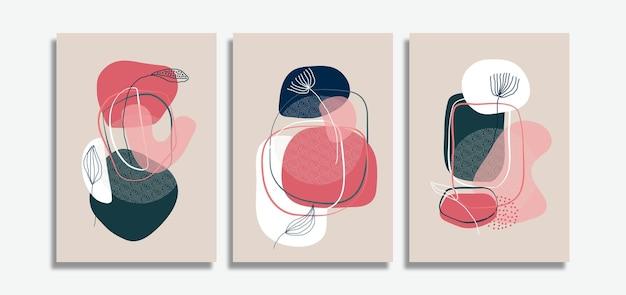 Set van minimalistische abstracte achtergrond met hand getrokken bladeren lijntekeningen