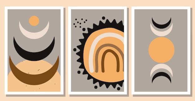 Set van minimalistische abstracte boho posters trendy kunstcollectie aan de muur platte vectorillustratie