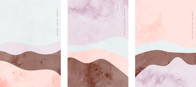 Set van minimalistische handgeschilderde creatieve kunst kromme lijnen