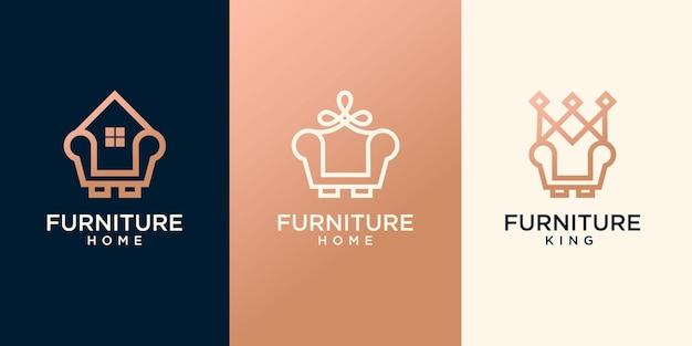 Set van minimalistische huismeubilair combinatie stoel illustratie premium vector