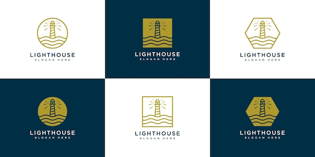 Set van minimalistische lijn abstracte vuurtoren logo ontwerp