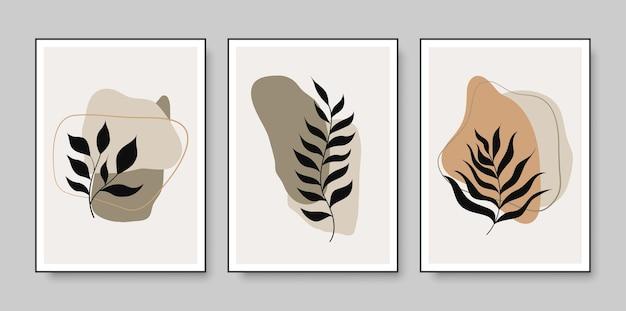 Set van minimalistische posters met botanische kunst aan de muur