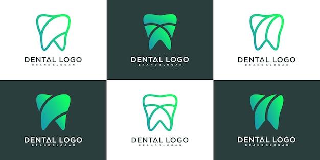 Set van minimalistische tandheelkundige kliniek logo ontwerpsjabloon met moderne kleurverloopstijl, premium vekto