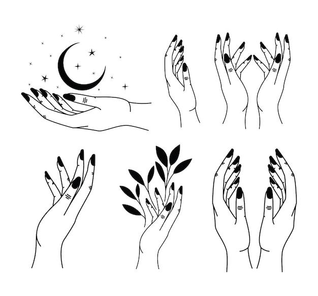 Set van minimalistische tatoeage van handen