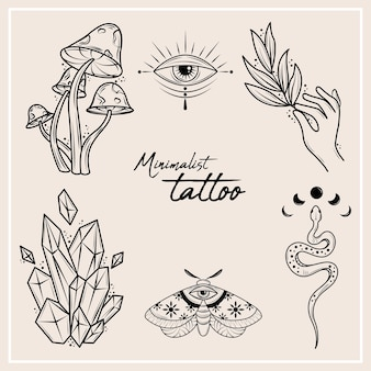 Set van minimalistische tatoeages