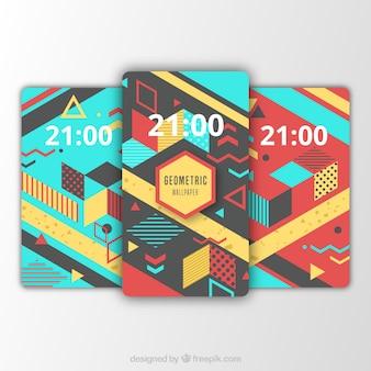 Set van mobiele achtergronden met abstracte elementen