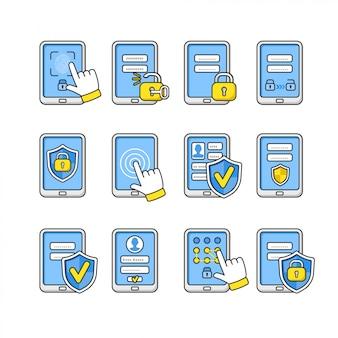 Set van mobiele beveiliging. smartphone veiligheidsconcept. wachtwoordsleutel en slot op smartphone. tekens om de telefoon te beschermen.