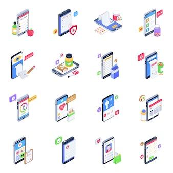 Set van mobiele gezondheidszorg isometrische pictogrammen