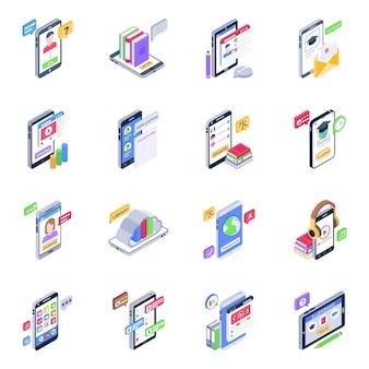 Set van mobiele onderwijs isometrische pictogrammen