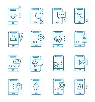 Set van mobiele pictogrammen met kaderstijl