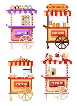 Set van mobiele retro vintage winkel vrachtwagen pictogram. van zijaanzicht, op witte achtergrond. website-pagina en mobiele app