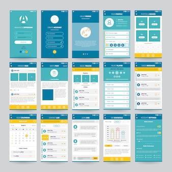 Set van mobiele schermen met gebruikersinterface voor toepassingen, waaronder muziekspelerfoto's