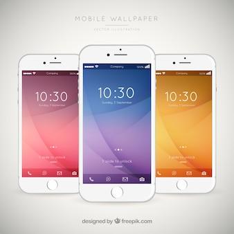 Set van mobiele telefoons met elegante wallpapers