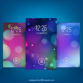 Set van mobiele wallpapers met bokeh effect