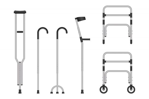 Set van mobiliteitshulpmiddelen geïsoleerd