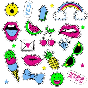 Set van mode-patches, schattige pastel badges, leuke iconen vectorin 90s retro concept