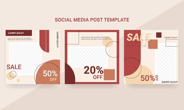 Set van mode-postsjabloon voor sociale media