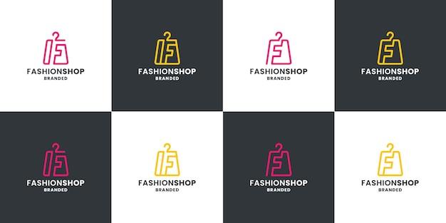 Set van mode winkel logo ontwerp. tasmode met letter f-combinatie