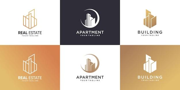 Set van modern gebouwlogo premium vector
