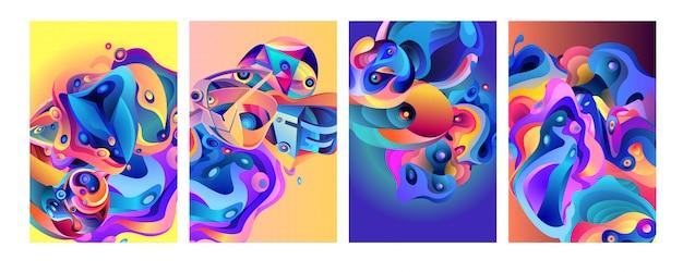 Set van moderne abstracte kleurrijke vector poster achtergrond