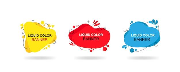 Set van moderne abstracte vector banners. vloeibare kleurenbanners. platte geometrische vormen van verschillende kleuren met zwarte omtrek. eps 10