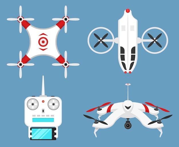 Set van moderne air drones en afstandsbediening. wetenschap en moderne technologieën. illustratie. radio robot of vliegtuig met een camera in de lucht. innovatieve systemen en ontwikkelingen.