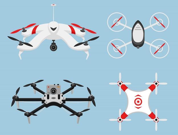 Set van moderne air drones en afstandsbediening. wetenschap en moderne technologieën. illustratie.