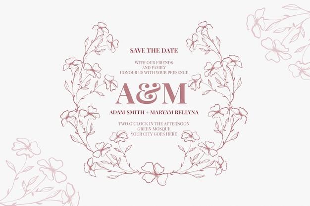 Set van moderne bloemen overzicht hand getrokken luxe bruiloft uitnodiging ontwerp of kaartsjablonen voor bruiloft of mode of groet met gouden bloem textuur op een crème kleur elegante achtergrondbundel