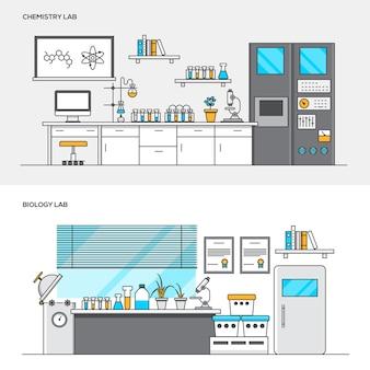 Set van moderne chemie en biologie laboratoria