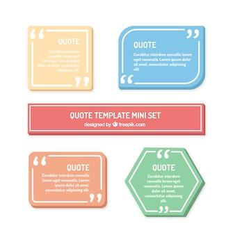 Set van moderne citaten sjabloon