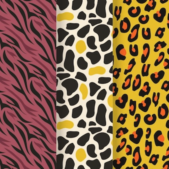 Set van moderne dieren in het wild bont patroon