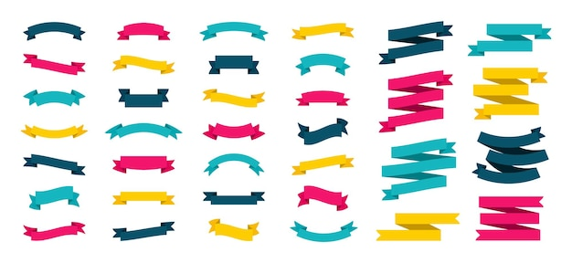 Set van moderne gekleurde linten. lint.
