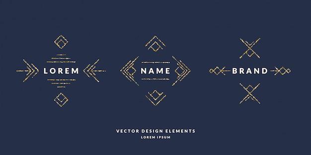 Set van moderne geometrische kader voor tekst van gouden glitter op een donkere achtergrond. illustratie