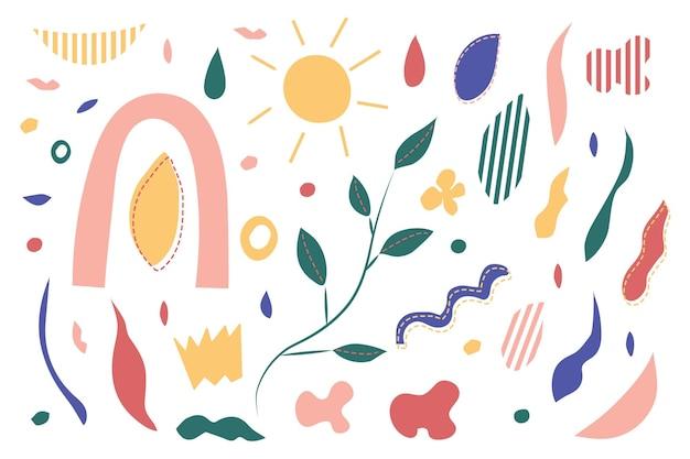 Set van moderne handgetekende organische vormen, texturen en grafische elemententrendy eigentijds design